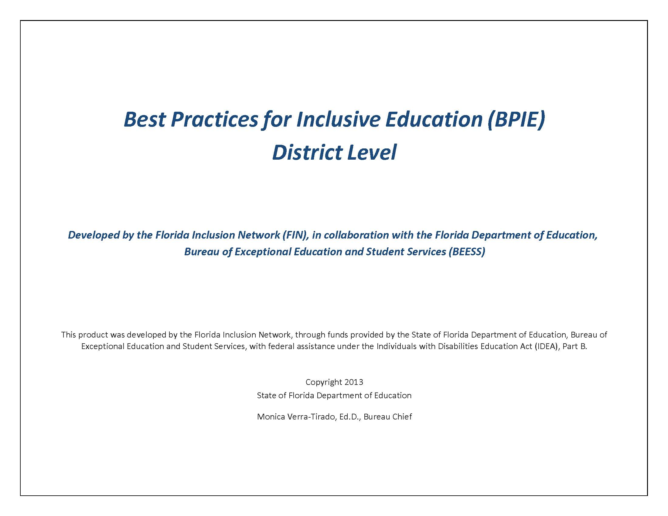 BPIE - District Level Assessment