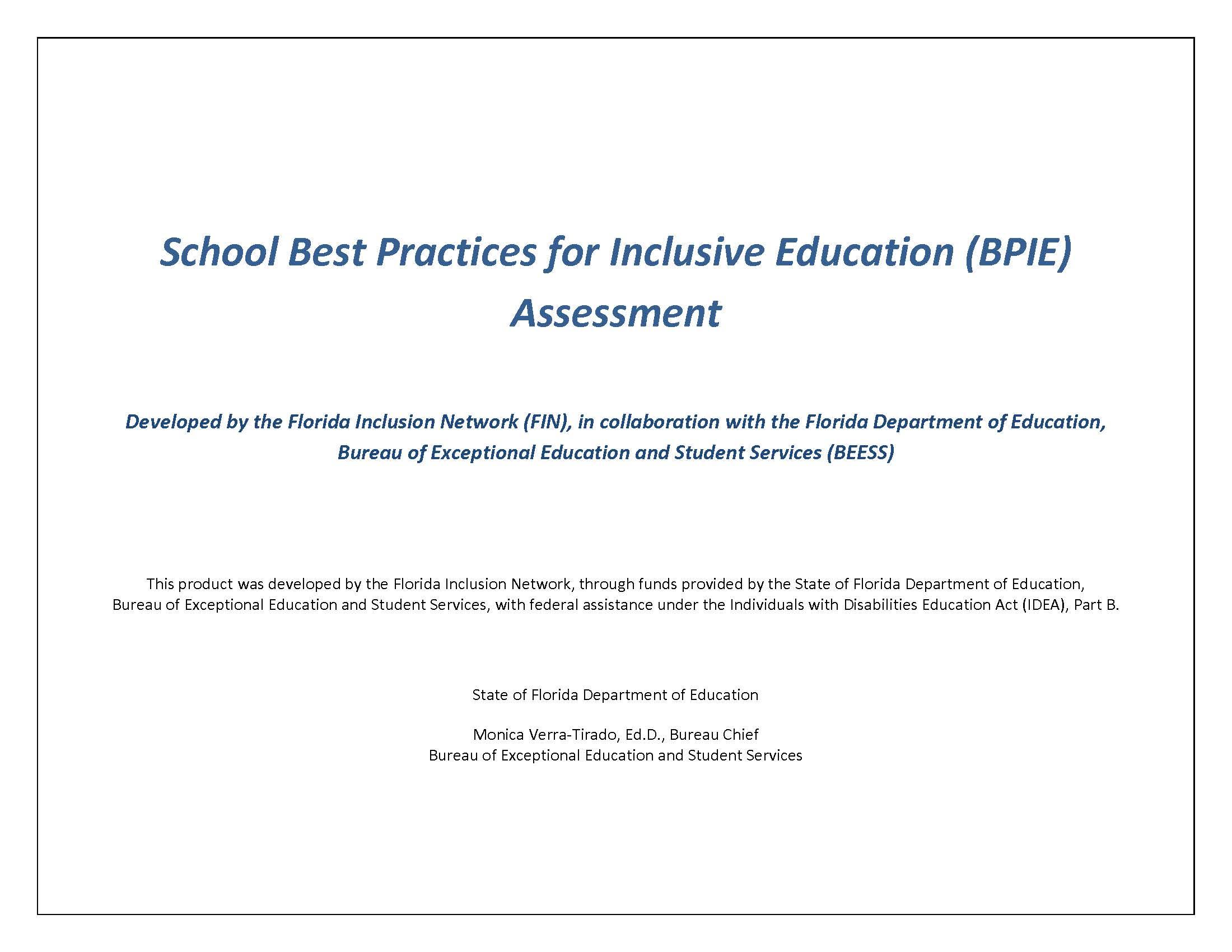 FIN School BPIE Assessment Instrument