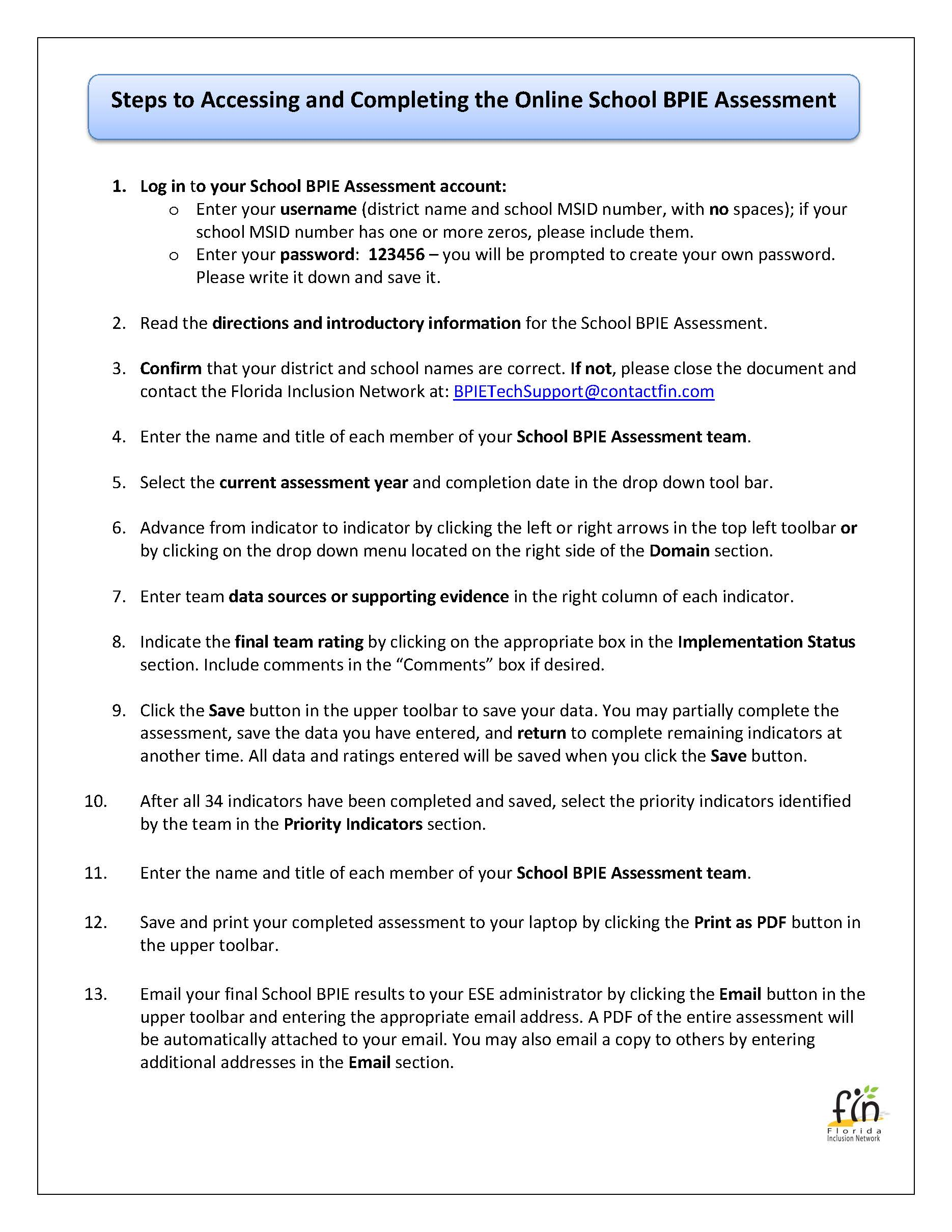 Steps to Complete the Online BPIE Assessment Form